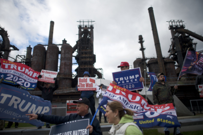 BETHLEHEM, PA - APRIL 15:  Donald Trump supporters demonstrate outside of a FOX News Town Hall with Democratic presidential candidate, U.S. Sen. Bernie Sanders (I-VT) at SteelStacks on April 15, 2019 in Bethlehem, Pennsylvania. Sanders is running for president in a crowded field of Democrat contenders. (Photo by Mark Makela/Getty Images)
